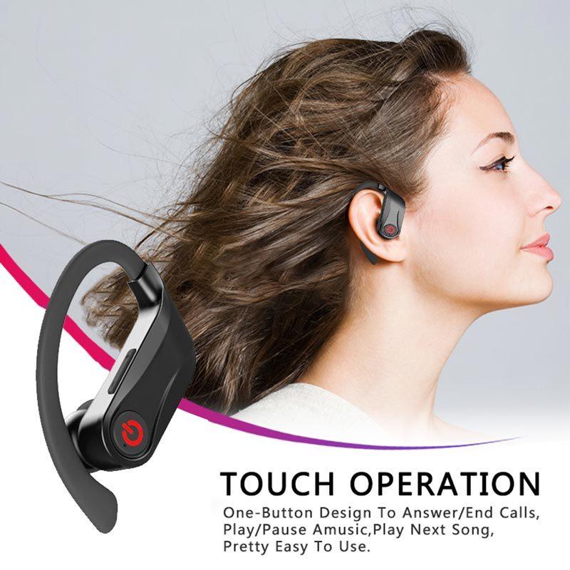 Phone için HbQ Q62 TWS 5.0 Bluetooth Gerçek Kablosuz Kulaklık Kulak Kanca Güç Dispaly ile Kulaklık Spor Kulaklık şarj vaka