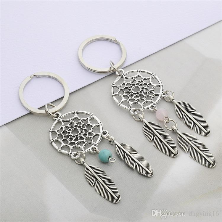 Fashion Gift Pink green Beads Dreamcatcher Feather Wind Chimes Dream Catcher Key Chain Women Vintage Indian Style Keychain