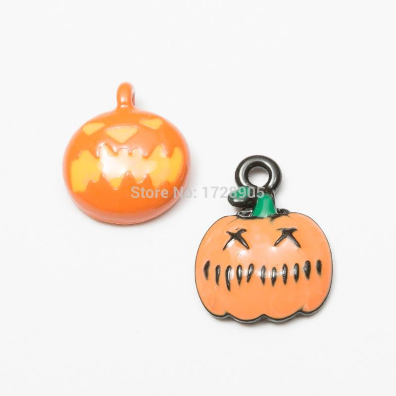 Gold Tone Alloy Orange Enamel Halloween Pumpkin Jewelry Making Pendants 13pcs