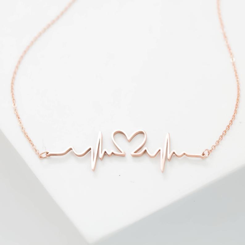 Duoying battito cardiaco collana personalizzata battito cardiaco gioielli collana infermiera aborto ricordo ricordo regalo di gravidanza regalo nuova mamma