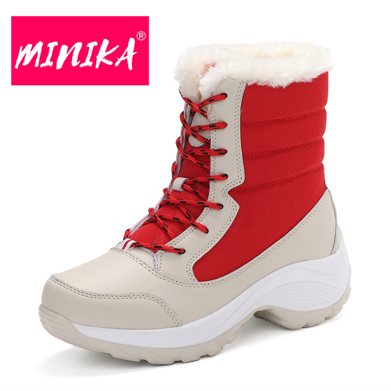 MINIKA Women Ankle Boots Warm Fur Winter Shoes Women Waterproof Snow Boots Round Toe Comfortable Rubber Soles Women Shoes Boots