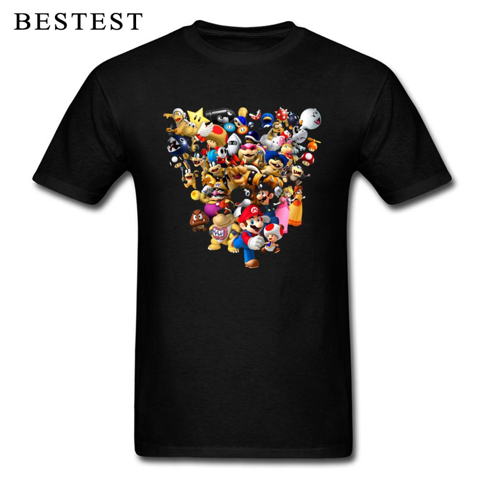 Mario Bros All Star 1825 Summer Fall 100% Cotton Crewneck Tops & Tees Short Sleeve Family Tops T Shirt High Quality T Shirt Mario Bros All Star 1825 black