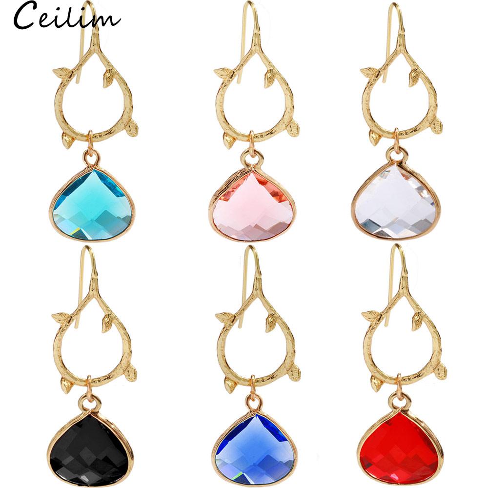 Birthstone Clip on Earrings for Girls Crystal September Teardrop Dangle Earring