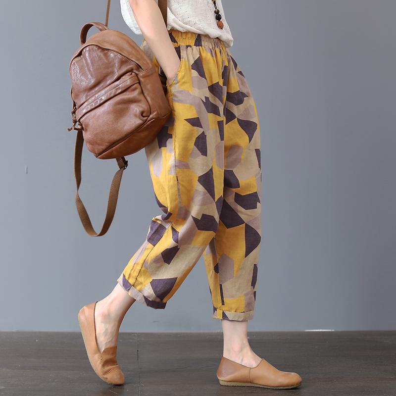 Plus Size 4XL Cotton Linen Harem Pants Trousers Women Vintage Print Slim Casual Elastic High Waist Cargo Radish Pants Women 20191