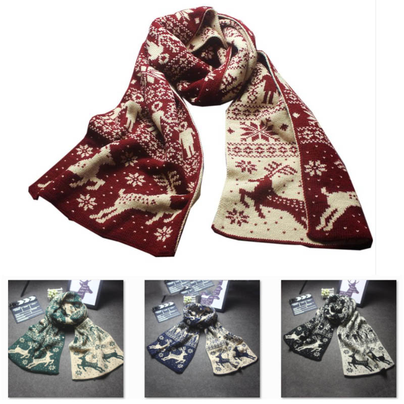 Christmas Scarf Women Scarf Knit Snowflake Elk Winter Thick Keep Warm Long Scarf