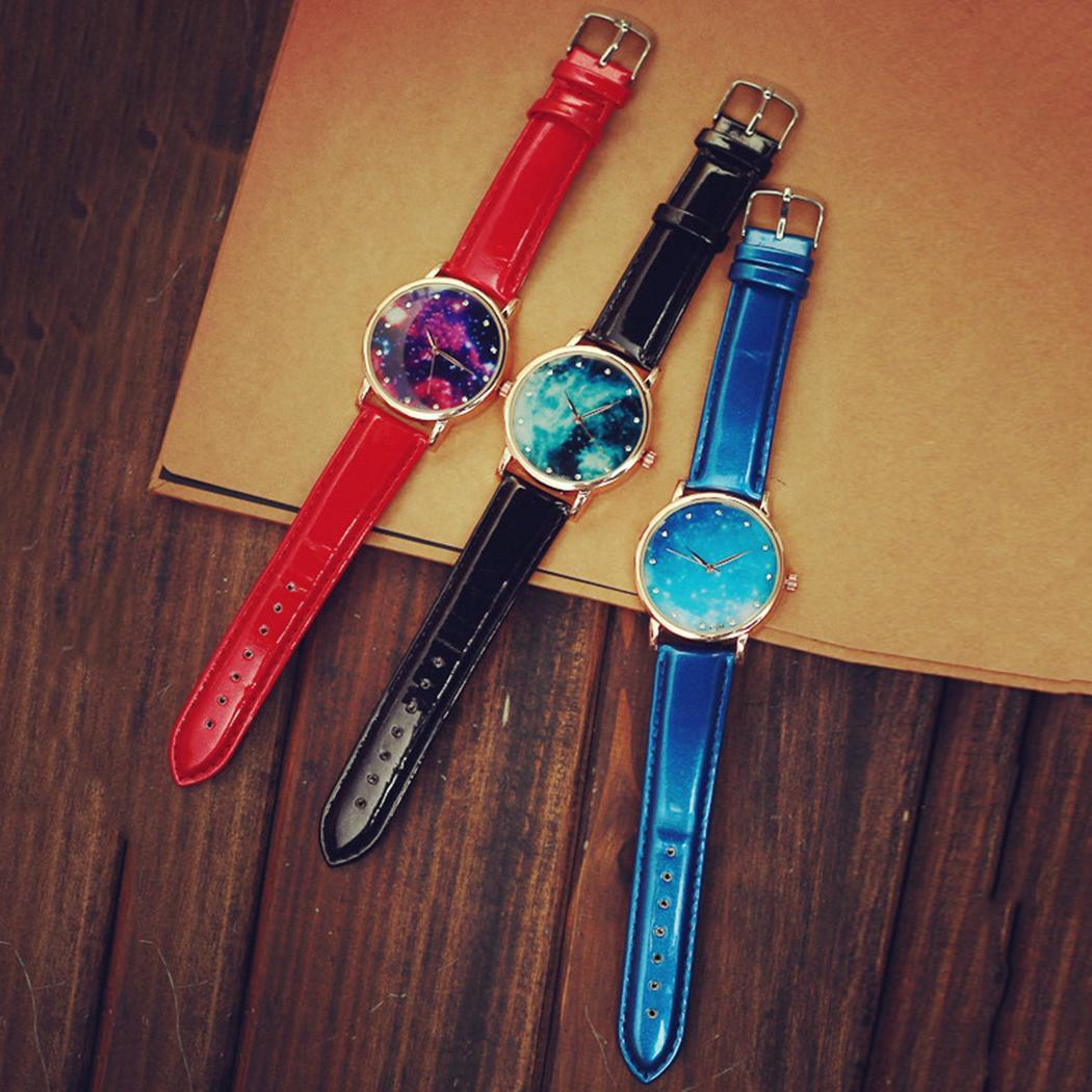 Neue mode neue frauen mode kunstleder band analog quarz armbanduhr armband armreif