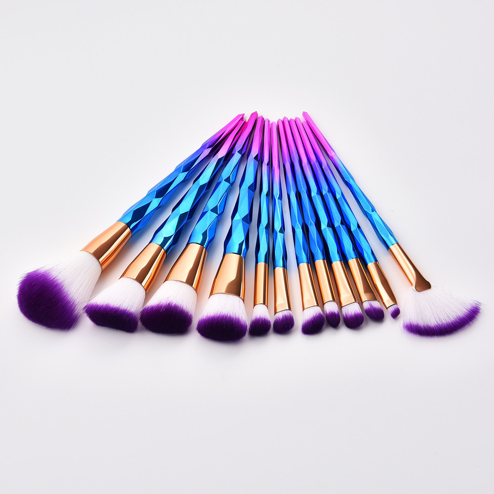 Makeup Brush Rainbow Brushes Set Rhinestone Tools Pro Powder Foundation Eye Lip Face Colrful Brush Kit