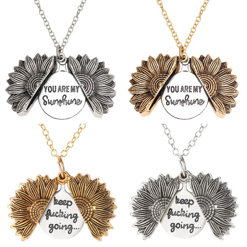 Sunflower Necklaces Keep Fucking Going You Are My Sunshine Open Locket Necklace Sunflower Collar Ladys Girls Friend Jewelry Gift