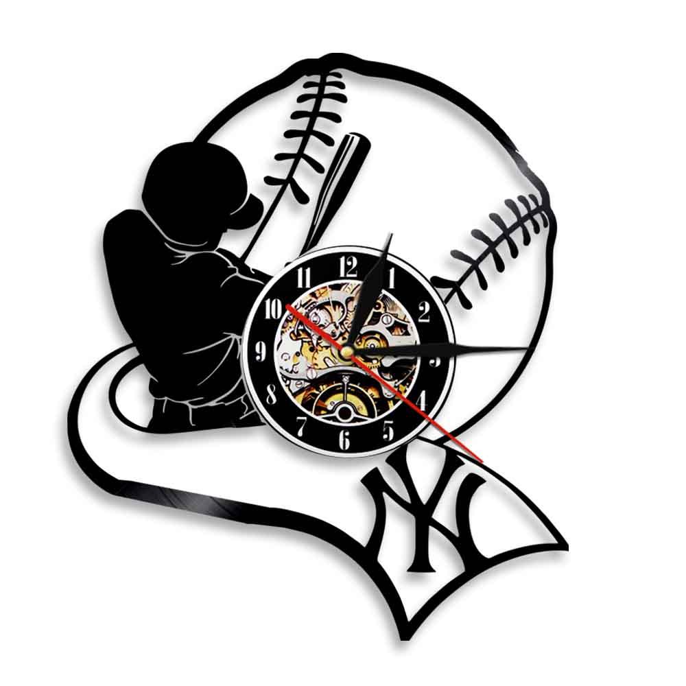 Idée Cadeau Pendaison De Crémaillère professionnel américain baseball team vinyl record wall clock baseball  crémaillère décor de chambre d'enfants cadeau baseball fan idée cadeau