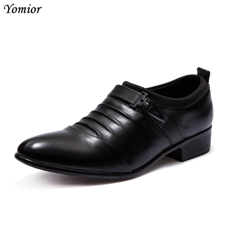 New Design Fashion Pointed Toe Slip-on Casual Men Shoes Black White Big Size Dress Leather Shoes Work Banquet Marriage Oxfords