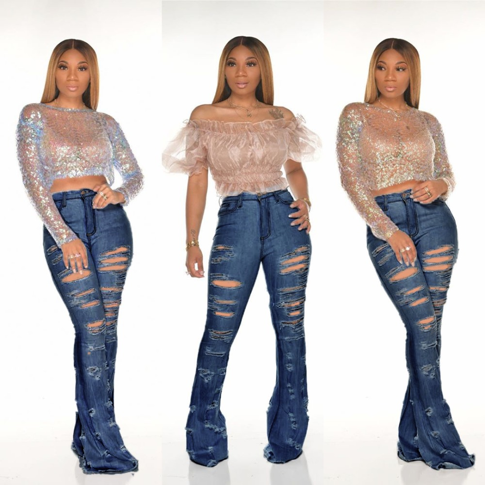 New Design fashion women Blue Color Jean Boot Cut Pants Casual Street Lady Long Denim Pants Sexy Club Wide Leg Jeans (6)