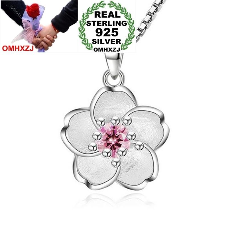 OMHXZJ Atacado Moda Flores De Cerejeira Menina Mulher Presente Zircon 925 Sterling Silver Pingente Encantos PE117 NO Colar De Corrente