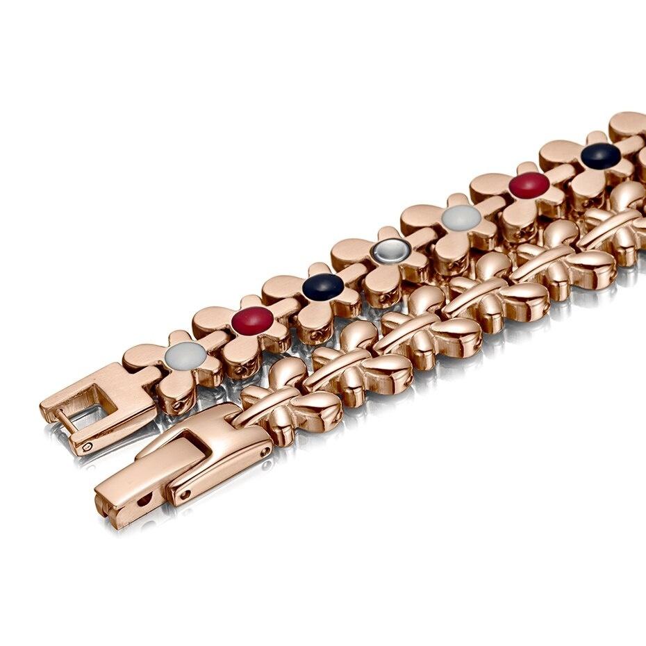4 IN 1 Braccialetto magnetico sano Gioielli da donna Terapia ad alta potenza Braccialetti in germanio Braccialetti Bracciale ologramma