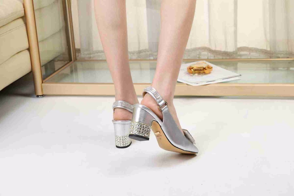 Full silver fashion ladies chunky sandals High-end atmosphere Wear-resistant rubber outsole