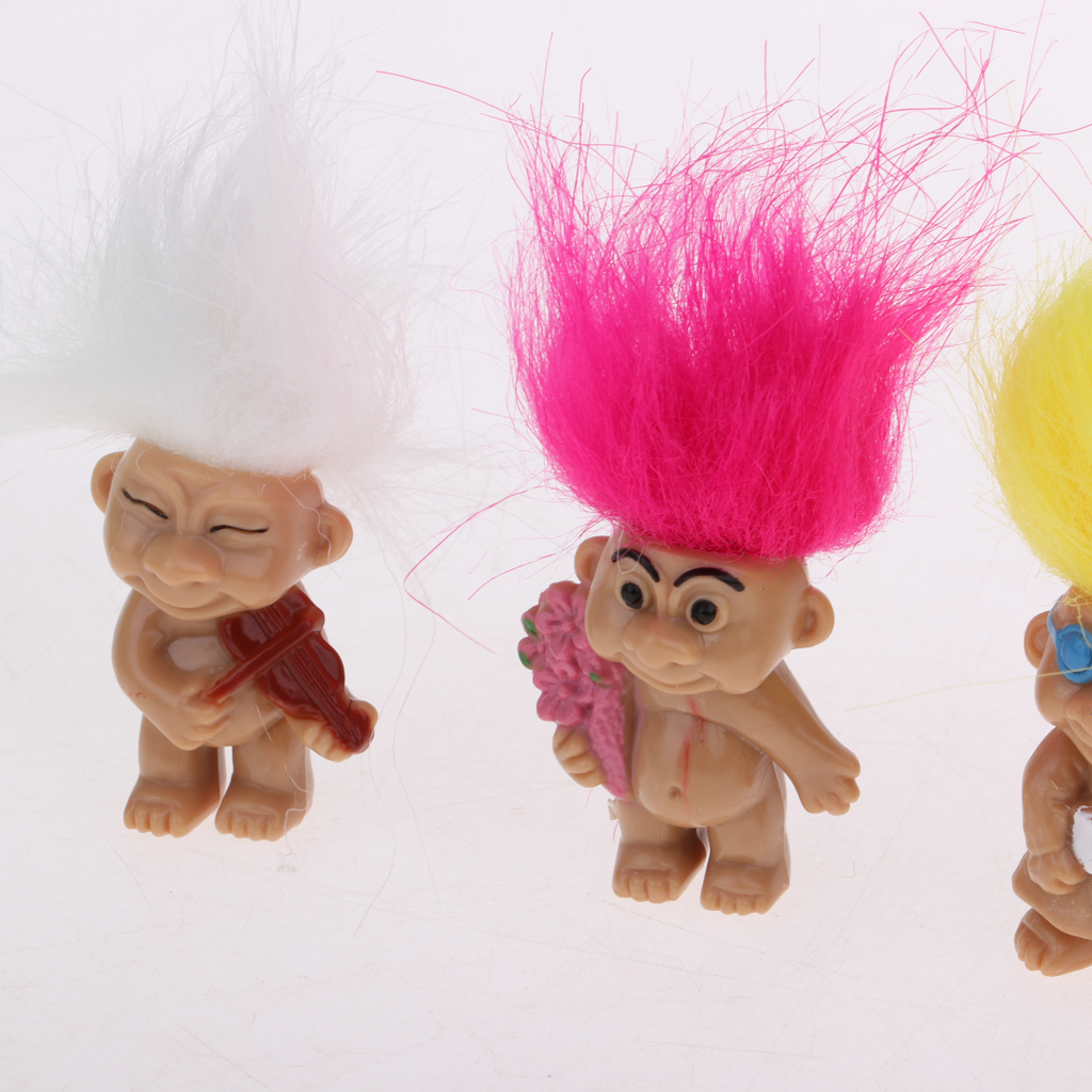 2 Set of 8 Pieces High Quality PVC Lucky Troll Dolls Leprocauns Doll Little Guys Toy Model Cake Toppers Party Favors Dollhouse