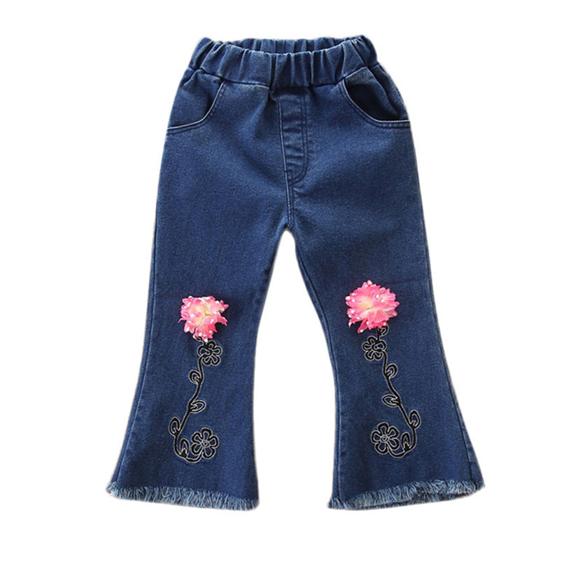 Winter Kids Girls Clothes Girls Pants Toddler Children Kids Baby Girls Floral Flare Denim Pants Casual Trousers Clothes S25#F (3)
