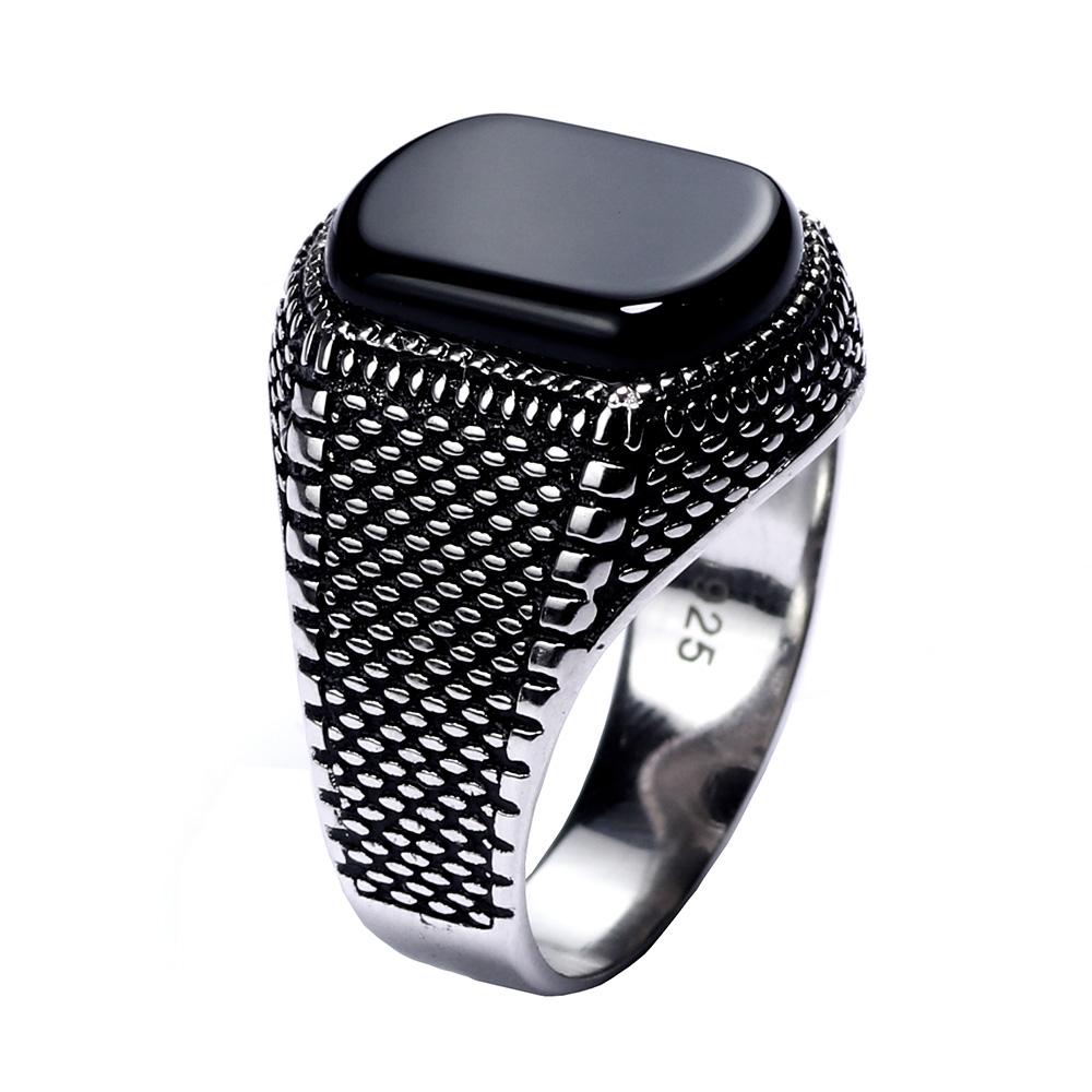 Nuevo hecho a mano puro 925 Anillos De Plata Piedra Ónix Para Hombres Todos Los Tamaños De Joyería Rrp £ 30