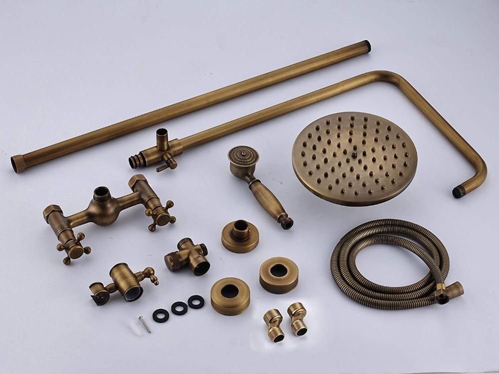 quyanre wanfan gappo antique brass shower faucet set brass rainfall shower head dual handles mixer tap wall mount antique brass shower kit5