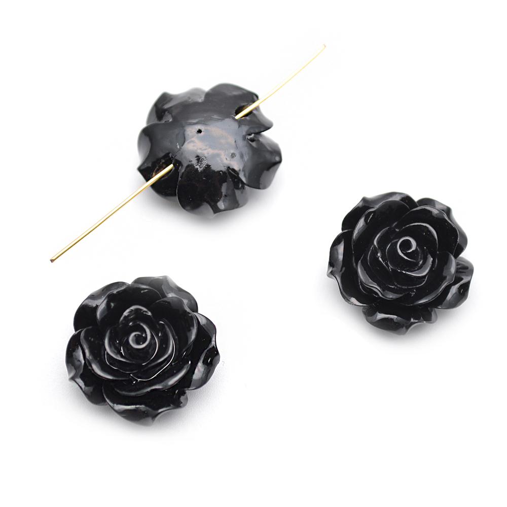 20mm Cor Preta Resina De Plástico Flor Solta Beads fit Moda jóias fazendo por lote