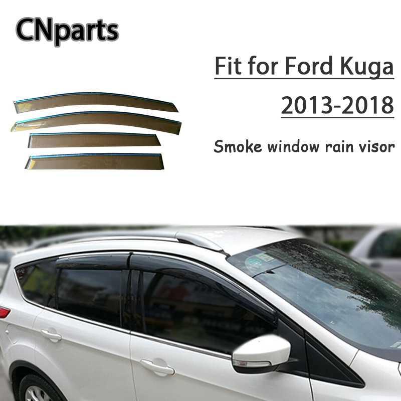 Chrome Trim Window Visors Guard Vent Deflectors For Ford Kuga//Escape 2012-2017