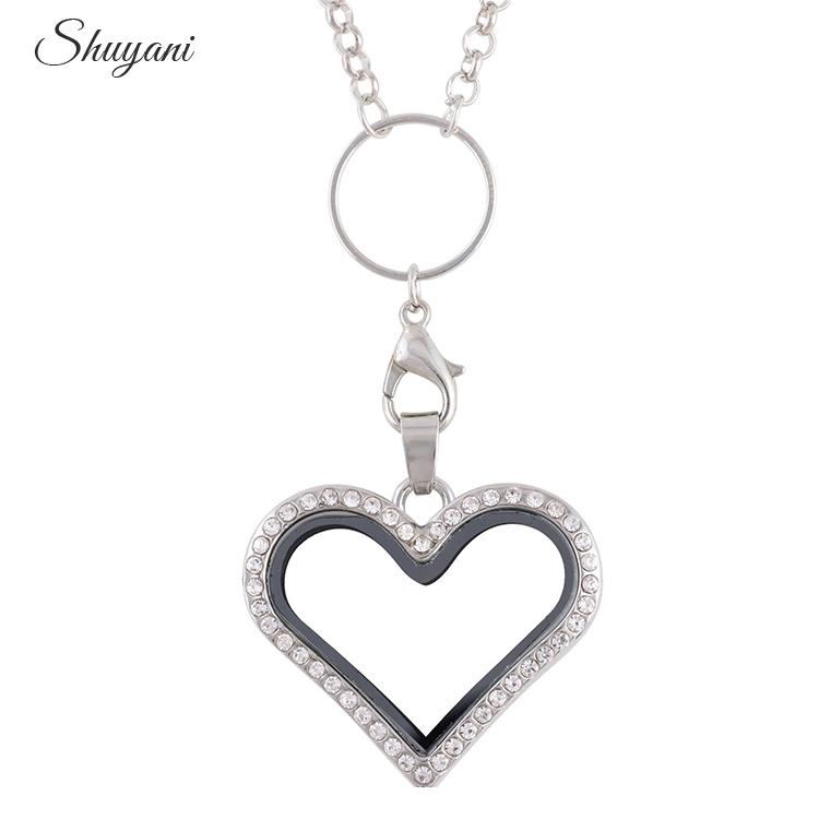 2016-Floating-Heart-Locket-Pendant-Necklace-Jewelry-Rhinestone-Magent-Glass-Living-Memory-Heart-Locket-Free-Chains