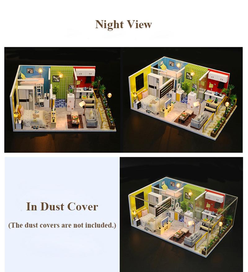 3D DIY Miniature Dollhouse Loft Building Model Wooden Handmade Dollhouses Assemble Kits Doll House with Furnitures Toys (6)