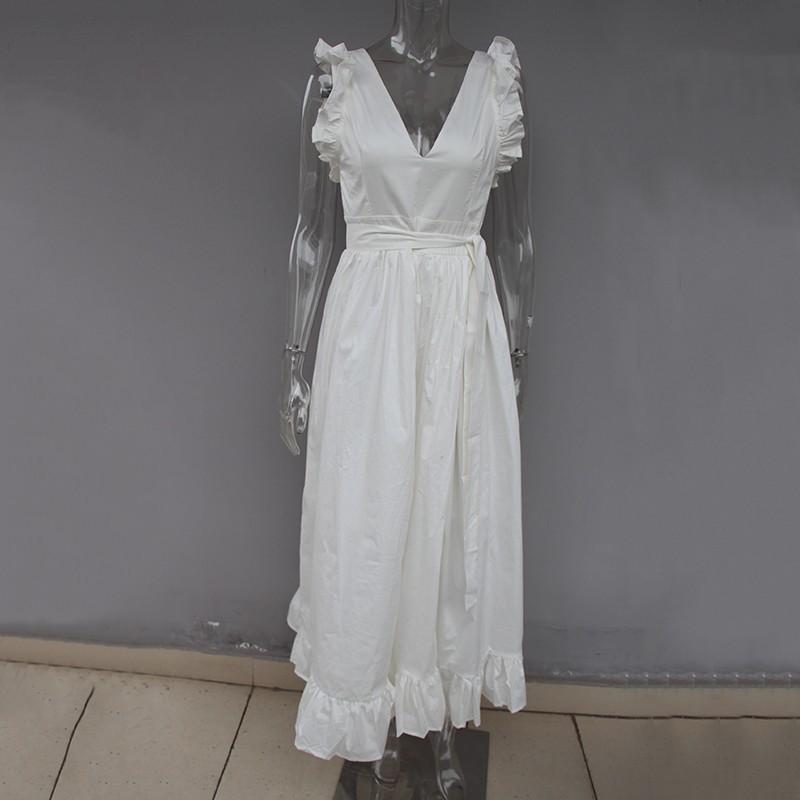 wholesale Elegant Beach Dress Female V Neck Sleeveless High Waist Lace Up Split White Maxi Dresses Women 2018 Spring Fashion