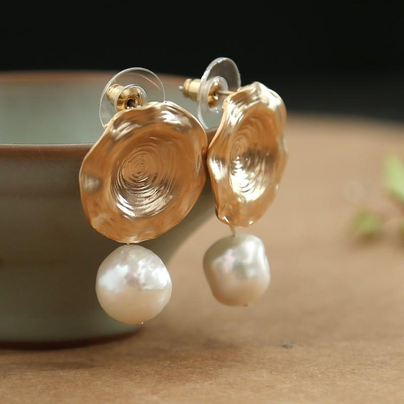 Fashion Baroque Natural Matte Hollow Out Dangle Ear Stud Pearl Drop Earrings