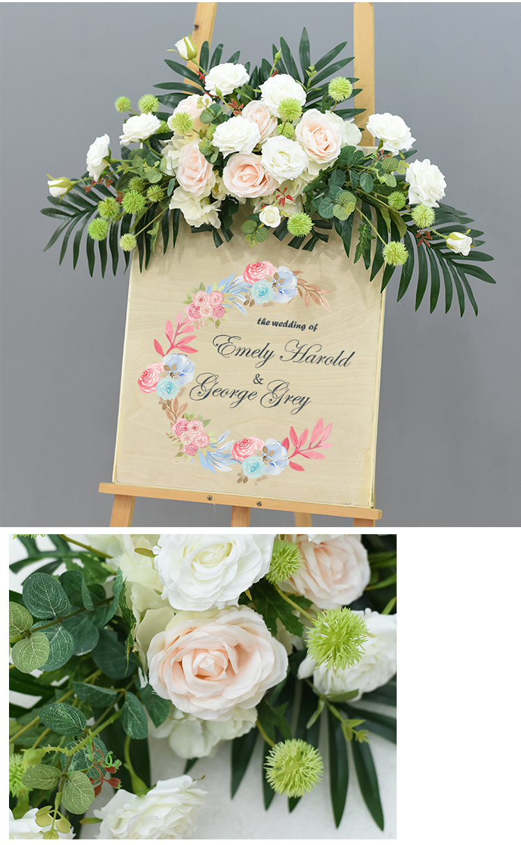 JAROWN Wedding Flower Row Welcome Sign Simulation Floral Hotel Creative Guide Decorations Photography Props Home Door Flower (19)