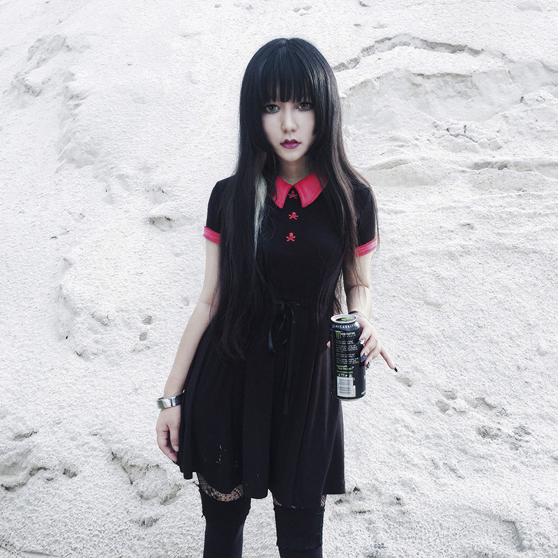 Gothic Dress Red Peter Pan Collar Chic Skull Button A-Line Casual Cotton Women Dresses Doom Dress T5190604