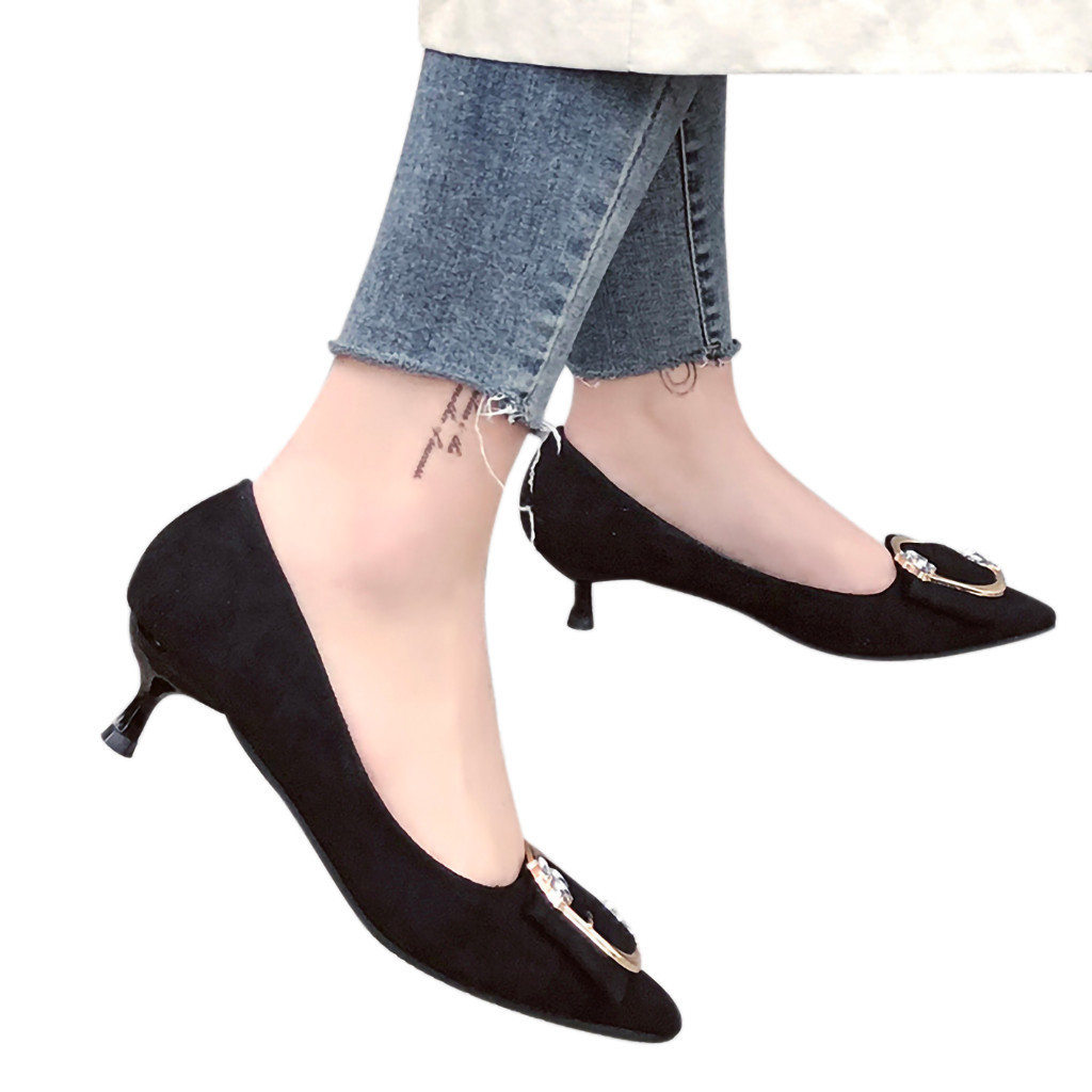 Dress Shoes Casual Pumps Women Pointed Single High Heel Shallow Mouth Square Buckle Wedding Woman #1220