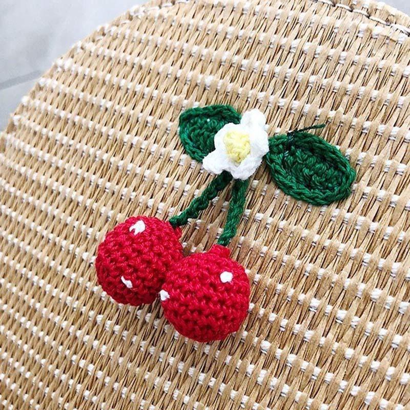 New Women Circle Handbag Summer INS Popular Female Straw Bag Cherry Lady Knit Shoulder Bag Fashion Holiday Crossbody SS7314 (2)