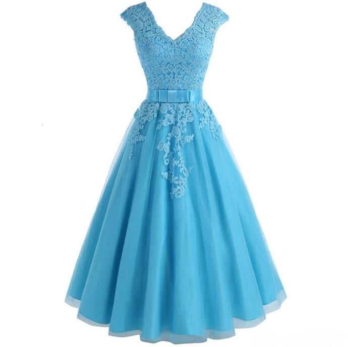 V-neck A-Line Tulle Bridesmaid Dress Tea-length Bridesmaid Dress Formal Dress Pleated Bodice Gown Custom Made With Applique