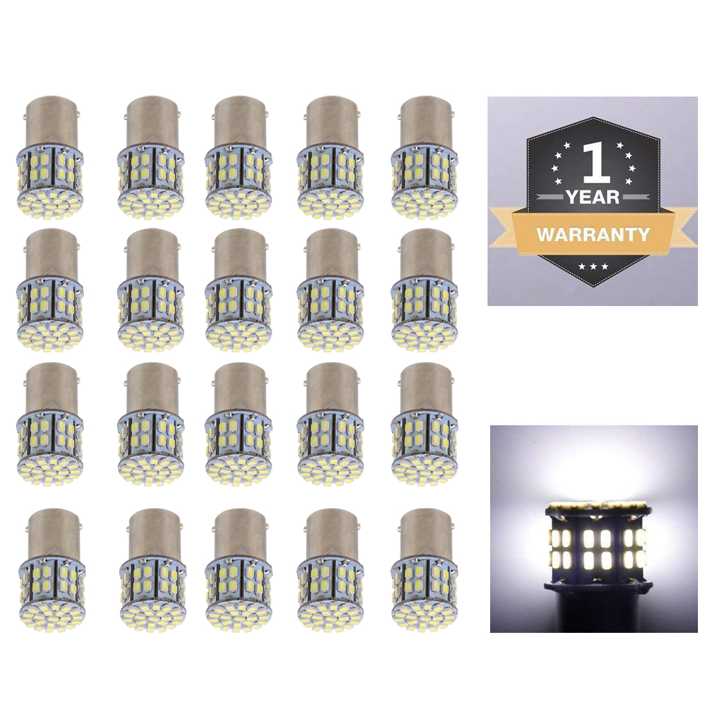Dolity Colaxi 20 Pieces White 1156 Super Bright 50 SMD LED Turn Signal Light Bulb Rear Brake Reverse Turn Signal Lamp for Car
