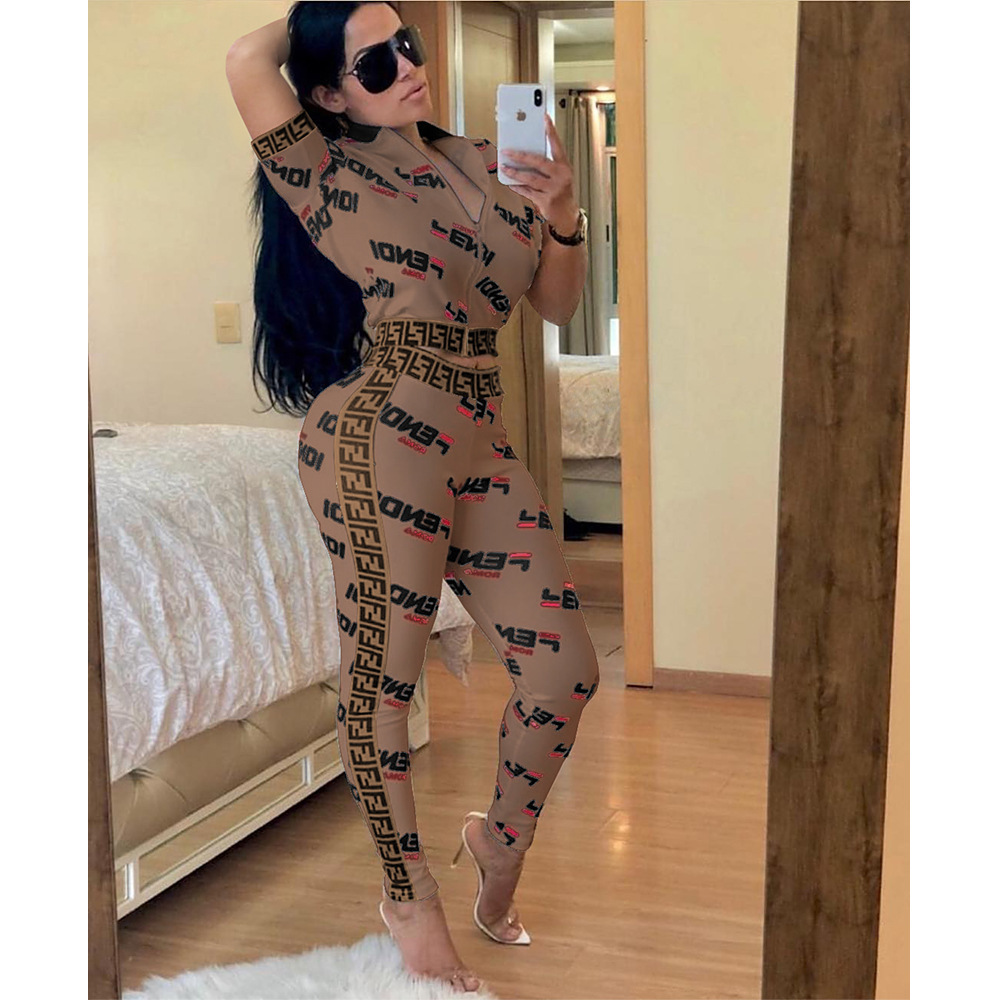 Spring Summer Two Piece Set Zip Top And Pants Letter Print Short Sleeve Skinny Tracksuit Sporty Wear Casual Women Outfits Q190521
