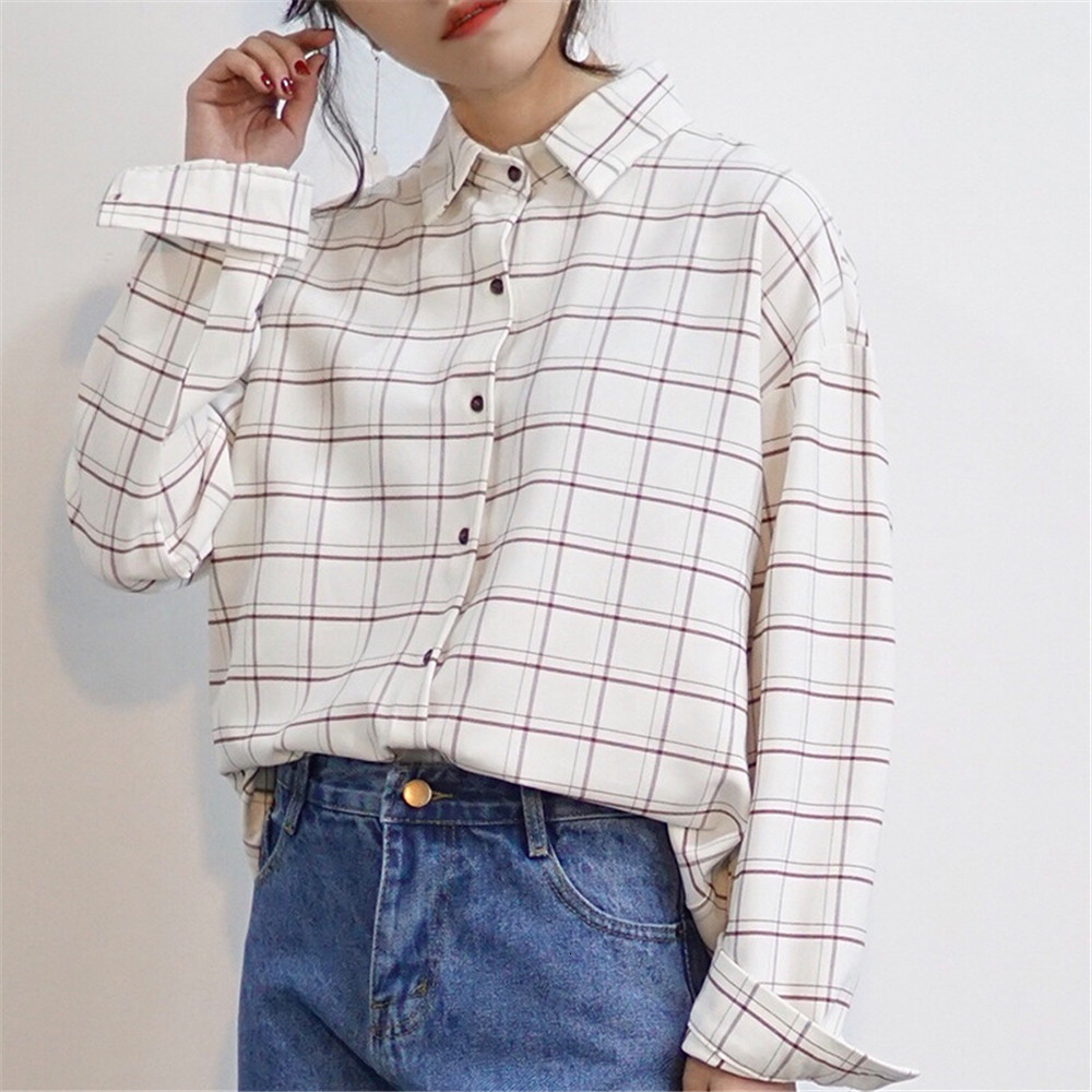 Loose cotton Checkered plaid College blouses shirt Cage female long sleeve Casual women Blouse shirt office lady tops (2)