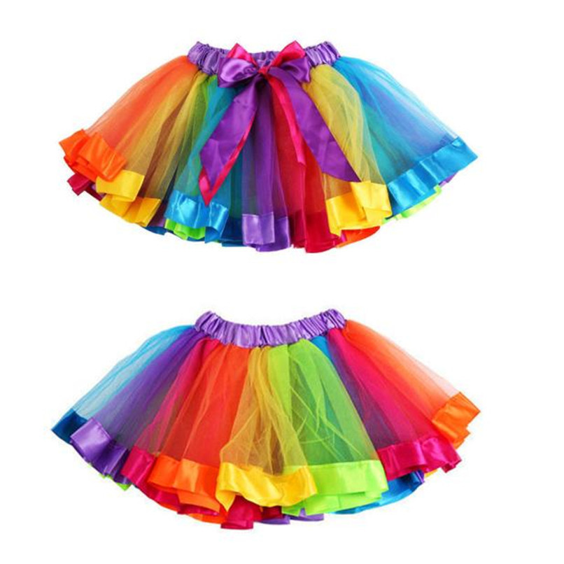 Summer Children Dress Baby Girls Kids Petticoat Rainbow Pettiskirt Bowknot Skirt Tutu Skirts Dance Skirt NDA84L19 (1)
