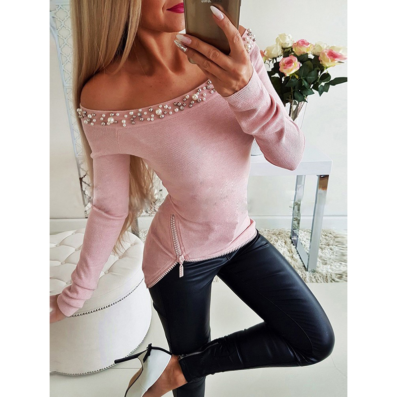 2019 Spring Pearls Beading Off Shoulder Top Sexy Knitted T Shirt Women Solid Side Zipper Tshirt Elastic Tee Shirt Femme Sj1684m Y19042101