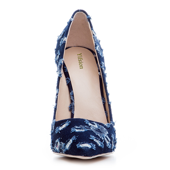 Rontic Women Pumps Sexy Stiletto High Heel Pumps Charm Pointed Toe Dark Blue Light Blue Casual Shoes Women Plus US Size 3-10.5