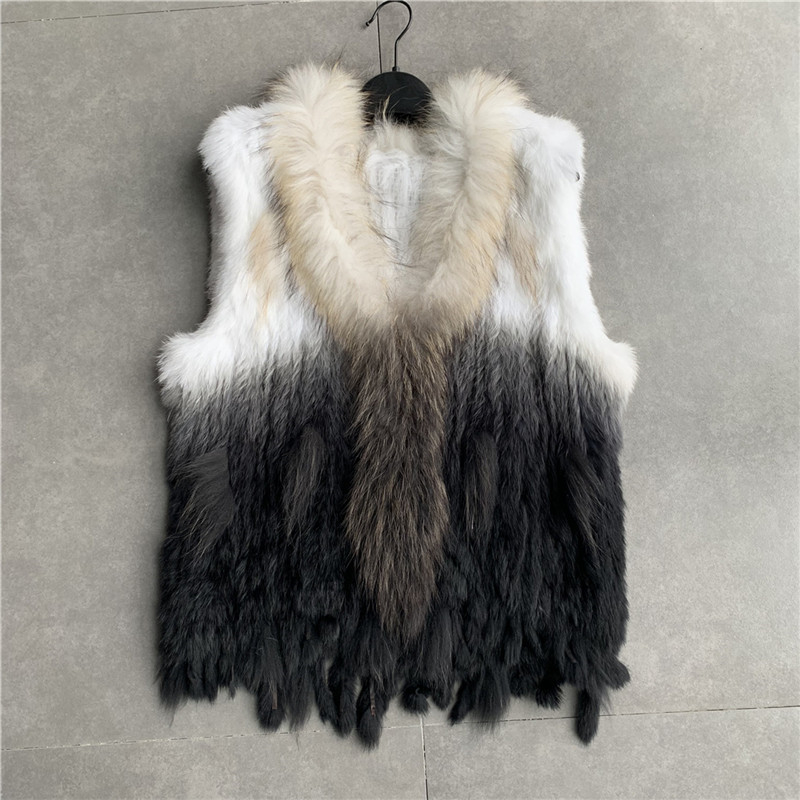 Vr001 Womens Natural Real Vest With Raccoon Fur Collar Waistcoat/jackets Rex Rabbit Knitted WinterMX190821