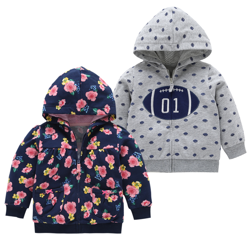 spring autumn baby girl floral hooded Long sleeve jacket with pocket cotton baby clothes Sweatshirt