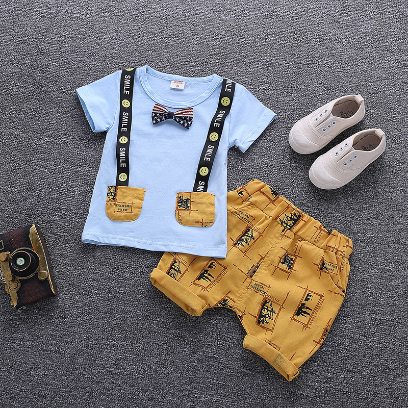 toddler boy summer outfit short sleeve T-shirt+shorts kids clothes infant clothing white blue yellow 1-4 years 2019
