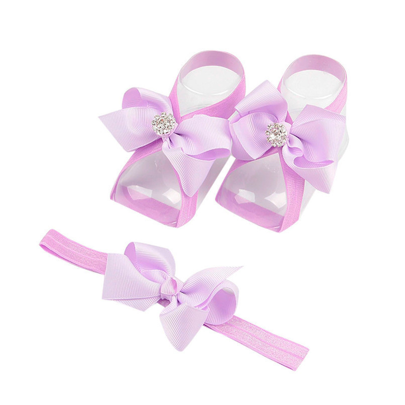 Fashion Baby Summer Beautiful Bowknot Barefoot Foot Flower Toddler Baby Foot Flower Anklet Baby Girl Sandals+Headband JE15#F (19)