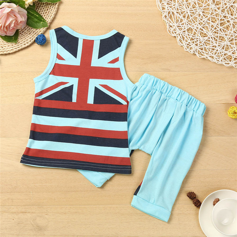 2PCS Boys Sets Kids Baby Boys Union Jack Print Sleeveless Vest Tops+Print Shorts Set Boys Clothes Suit For 2-6T Baby M8Y09 (6)