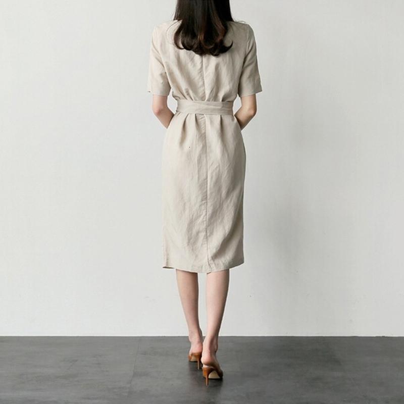 Vestido casual solta elegante Mulheres de manga curta O pescoço Mid Calf Frente Divisão Feminino magro vestido Vestidos