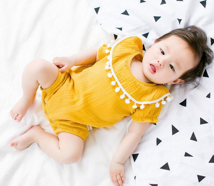 Cute Newborn Baby Girl Romper 2017 Summer short sleeve Princess fur ball Sunsuit One Pieces Tassel Clothes free drop shipping (12)