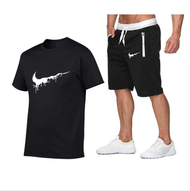 BLTR Men Hip Hop Short Sleeve Sport 2 Piece Outfits Casual Shorts Tracksuits