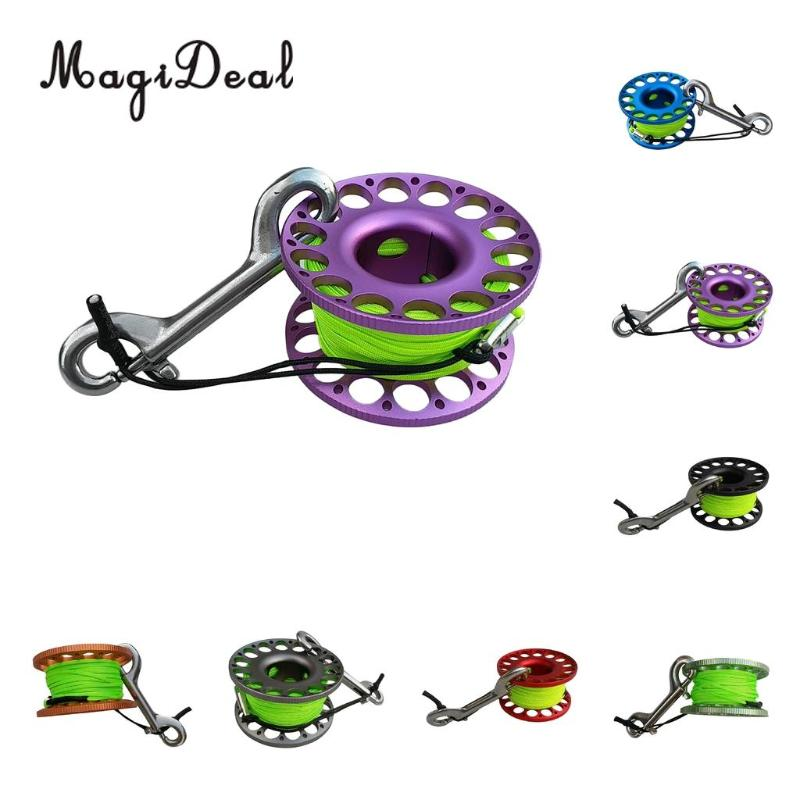 Compact Diving Finger Reel with 30m Nylon Braided Wire /&Stainless Steel Bolt Clip Durable