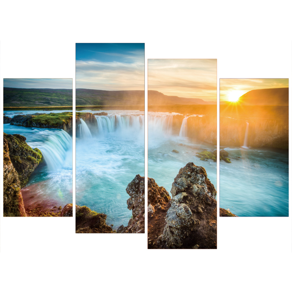 Frame Art For Living Room Waterfall Wall Picture Print Painting Modular Poster 4 Panel Sunset Landscape Canvas Home Deco Artwork
