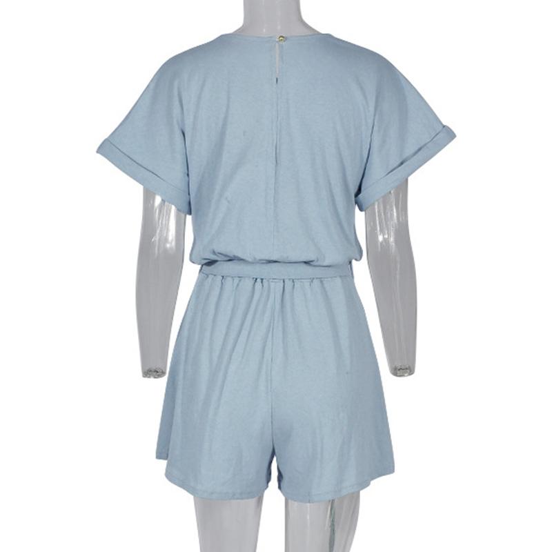 Forefair Linen Shorts Jumpsuit Summer Wide Leg (3)